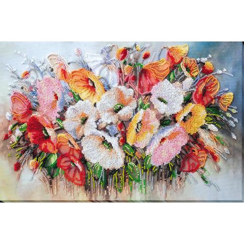 """Набір для вишивання бісером на натуральному художньому холсті """"Ніжні квіти"""""""