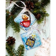 """Набір для вишивання бісером новорічної іграшки на натуральному художньому холсті """"Зимова совушка"""""""