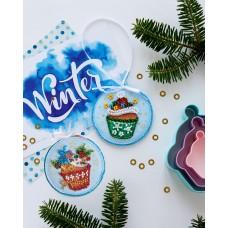 """Набір для вишивання бісером новорічної іграшки на натуральному художньому холсті """"Новорічні солодощі"""""""