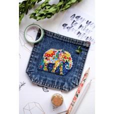"""Набір для вишивання бісером прикраси на натуральному художньому холсті """"Слон"""""""