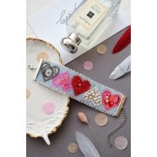 """Набір для вишивання бісером прикраса-браслет на натуральному художньому холсті """"Справи сердечні"""""""