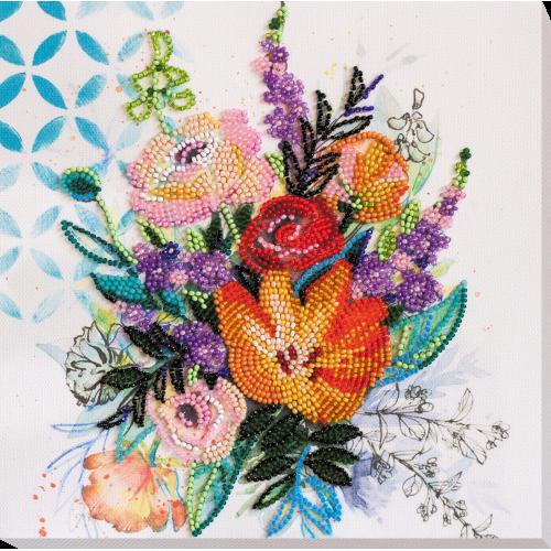 """Набір-міді для вишивання бісером на натуральному художньому холсті """"Квіткова феєрія"""""""