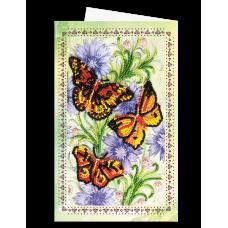 """Набір для вишивки бісером """"Листівка-конверт"""" Три метелика"""