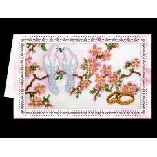 """Набір листівка-конверт для вишивки мікробісером """"Весільні птахи"""""""