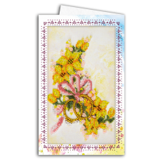 """Набір листівка-конверт для вишивки мікробісером """"Весільні квіти"""""""