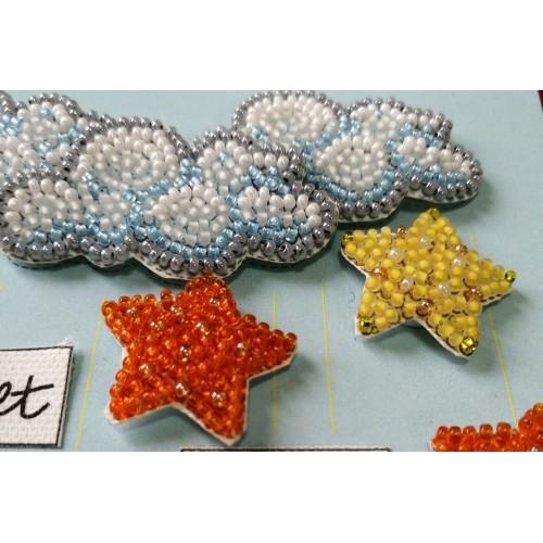 """Набір-листівка 3D для вишивання бісером """"Серед зірок і хмарок"""""""