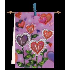 """Набір-прапорець для вишивання бісером на натуральному художньому холсті """"Квіти любові"""""""